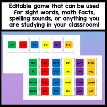 Sight Word Memory Game {2 sets of 48 cards!}