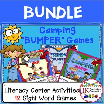 Sight Word Games: Camping, Fishing, & Swimming Bumper BUNDLE {EDITABLE}