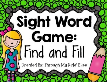 Sight Word Games: Find and Fill