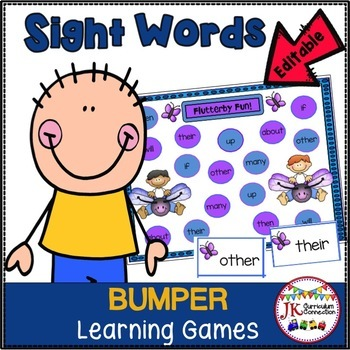 Sight Word Games - Insect Kids BUMPER {EDITABLE}