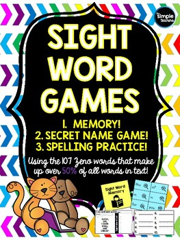 Sight Word Games: Memory, Secret Name Game, and engaging Spelling Practice