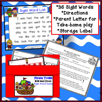 Sight Word Games - Pirate Trolls Roll & Cover