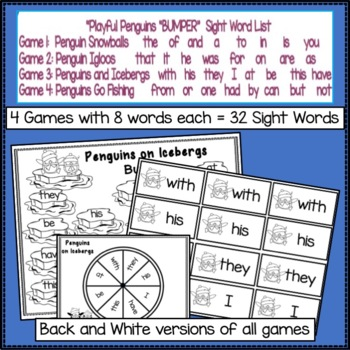 Sight Word Games - Penguins Theme Bumper {EDITABLE}