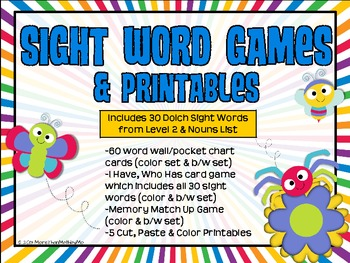 Sight Word Games & Printables: Dolch Nouns & Level 2 words B&W set included
