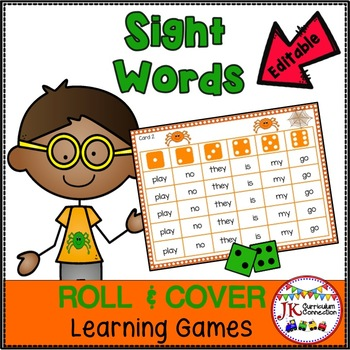 Sight Word Games - Roll & Cover Spinning Spiders! {EDITABLE}