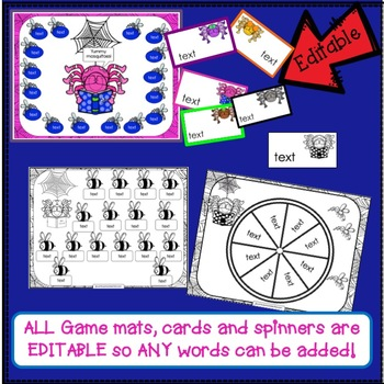 Sight Word Games - Spider BUMPER {EDITABLE}