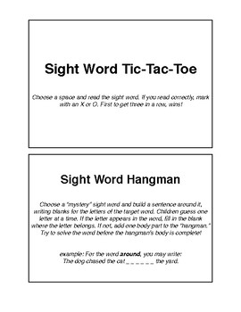 Sight Word Games: Tic-Tac-Toe and Hangman