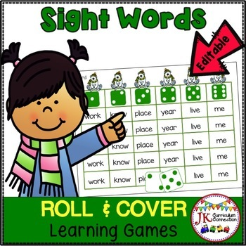 Sight Word Literacy Center Games – Winter Friends Roll & Cover! {EDITABLE}
