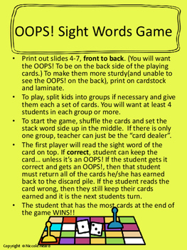 Sight Word Games and Flashcards 1st Grade