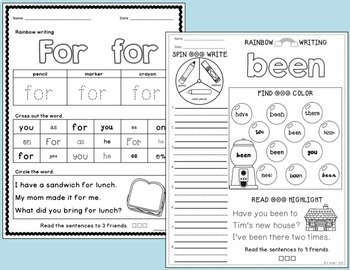 Sight Word Games and Practice Pages BUNDLE