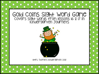 Sight Word Gold Coins Game