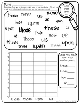 sight word graphing 2nd grade by the moffatt girls tpt