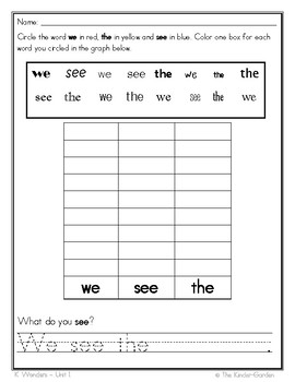 McGraw Hill Wonders kindergarten Sight Word Graphing