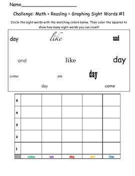 Sight Word Graphing + Challenge Slips!