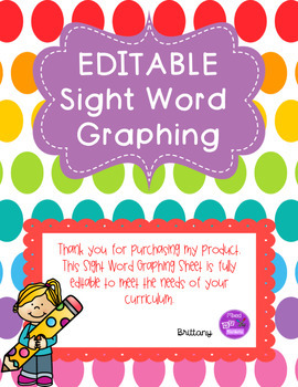 Sight Word Graphing (EDITABLE)