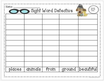 Sight Word Graphs: First Grade Treasures Unit 5