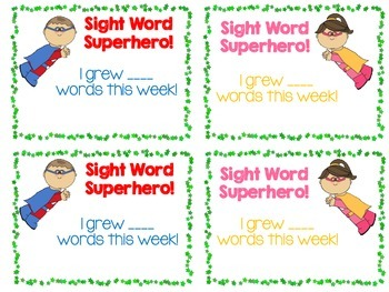 Sight Word Growth Certificates