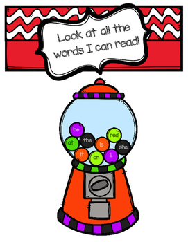 Sight Word Gumball Machine (Look at all the words I can read!)