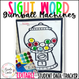 Sight Word Gumball Machines- Editable : Student Data Tracker