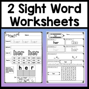 Sight Word HER {2 Sight Word Books and 4 Worksheets!}