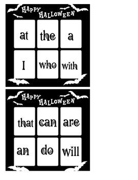 Sight Word Halloween Bingo