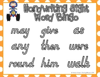 Sight Word Handwriting Bingo {1st Grade}