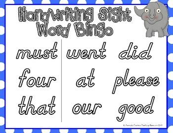 Sight Word Handwriting Bingo {Primer}