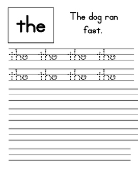 Sight Word Handwriting Book