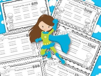 Sight Word Handwriting Practice: Be a Reading Superhero!