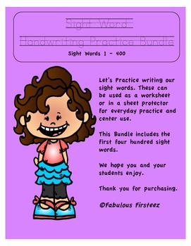 Sight Word Handwriting Practice Bundle