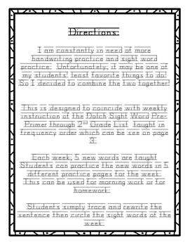 Sight Word Handwriting Practice Freebie