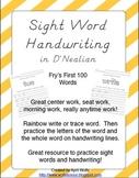 Sight Word Handwriting Sheets in D'Nealian