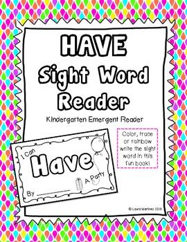 "Sight Word ""Have"" Emergent Reader"
