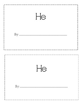 Sight Word 'He' book