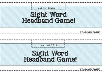 Sight Word Headband Game