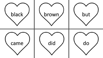 Sight Word Hearts- Kindergarten