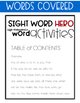 Sight Words - Sight Word Hero - Sight / High Frequency Word Practice