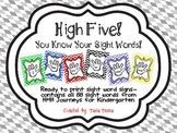 Kindergarten Journeys Sight Word High Fives
