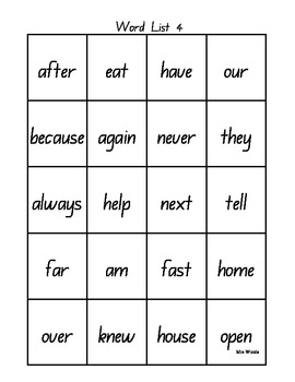 Sight Word / High Frequency Word Booklet 3 and 4
