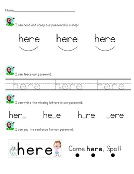 Sight Word (High Frequency Word) Practice - here