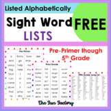 FREE Sight Word,High Frequency Words Lists Pre-Primer Prim