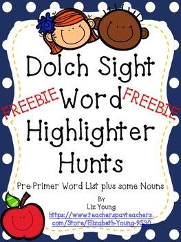 Sight Word Highlighter Hunt Freebie