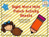 Sight Word Hole Punch Activity Worksheets Set 1