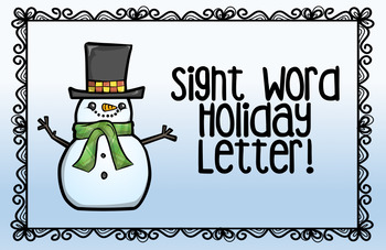 Sight Word Holiday Letter