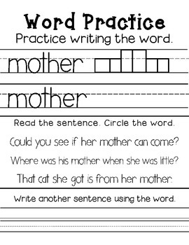 mClass Sight Word Homework- List C