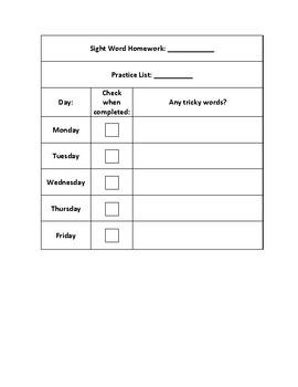 Sight Word Homework Checklist