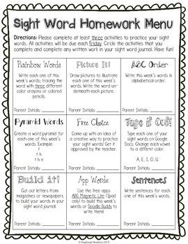 Sight Word Homework Choice Menu