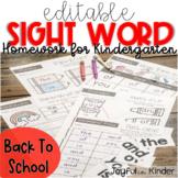 Sight Word Homework {EDITABLE} - Back to School
