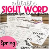 Sight Word Homework {EDITABLE} - Spring