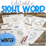 Sight Word Homework {EDITABLE} - Winter